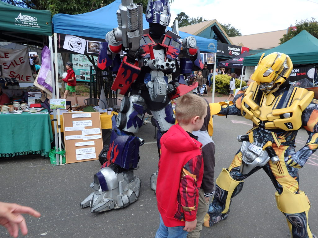 Kids being wowed by transformers at the festival
