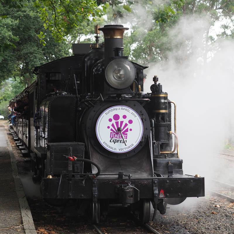 Puffing Billy with custom Headboards for Emerald Funfest