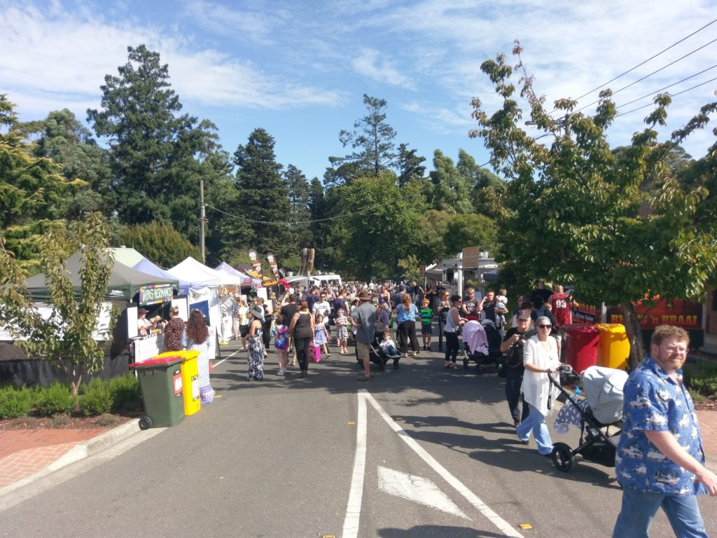 Funfest market stalls with crowd